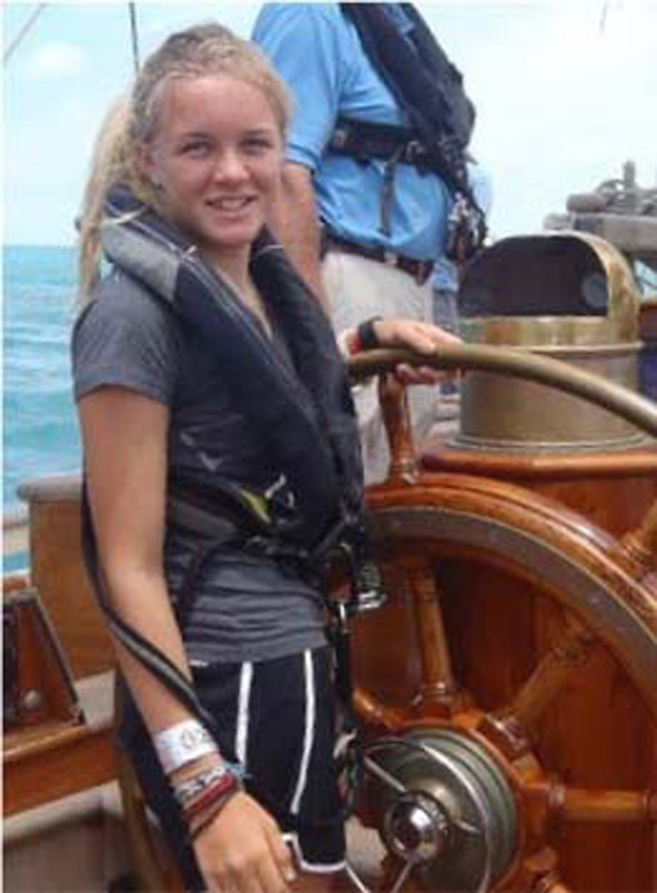 Passion: Hanna Horsfield takes the helm aboard the Spirit of Bermuda. *Photo supplied