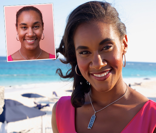 Beach beauty: Katura Horton-Perinchief above,for her 'before' picture and right, basking in the summer sunshine at Elbow Beach for her 'after' photo shoot. Katura is the winner of the first Official Bermuda Sun Monthly Makeover. *Photos by Nicola Muirhead