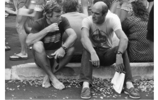 Ironmen: Jim Butterfield and Gerry Benson take time out in Hawai'i ahead of the Ironman World Championships in 1981. *Photo supplied