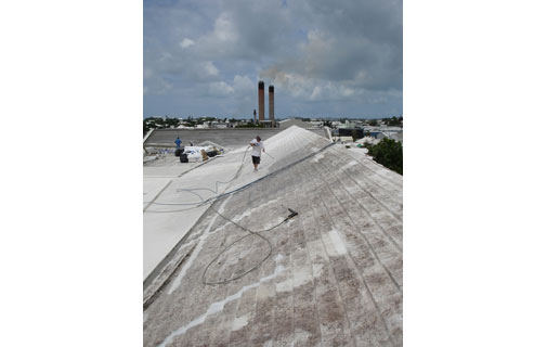 CLEAN SLATE: Workers from Renew Ltd cleaning a roof.