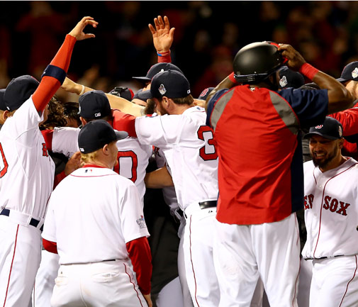 The Boston Red Sox celebrate after their crushing 6-1 Game Six win over St. Louis Cardinals. *AFP photo
