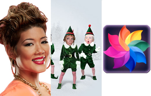 Jamaica's Tessane Chin, left, had the top song this week thanks to her making the finals of NBC's The Voice singing competition; You can get in the Christmas spirit with the Elfyourself app, centre; Afterlight, right, is an app to edit images.
