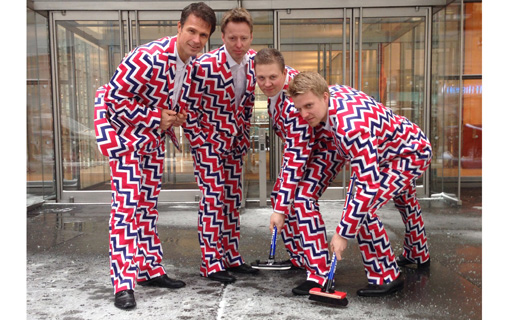 Clean sweep: Norway's curling team always makes a fashion statement with its loud uniforms. Yuu can favourite them on the Sochi 2014 WOW app.  *Photo courtesy of the Norwegian Curling Association
