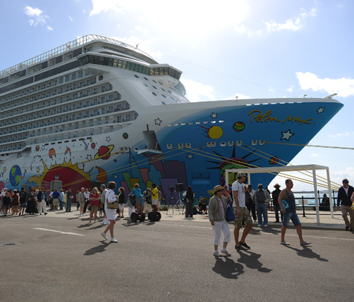 A four-year-old child has died and a second youngster has been airlifted to hospital on board the Norwegian Breakaway, pictured here during it's inaugural visit to Bermuda last year. *File photo