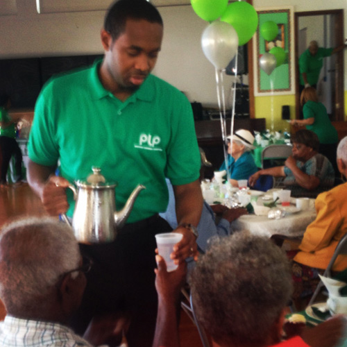 Helping out at a seniors' tea at West Pembroke school last week. *Photo supplied