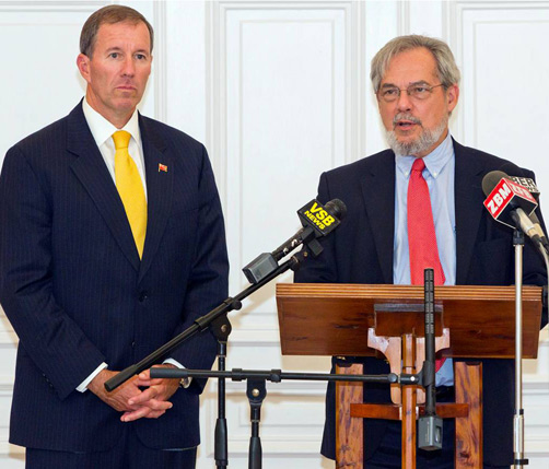 Premier Michael Dunkley at the ceremony to confirm Trevor Moniz as the new Attorney General. *File photo