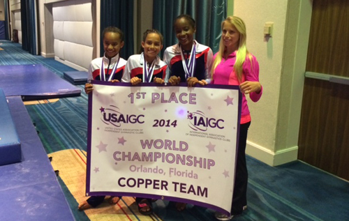 Pictured are Mya Furbert-Jacobs, Rhianna Evelyn, and Kayode George with their coach Molly Newbury. Missing from the photo are Naomi Proctor, Cimbryt Smith, and Laura Hupman, who competed in earlier sessions but whose scores counted towards the victory. *Photo supplied