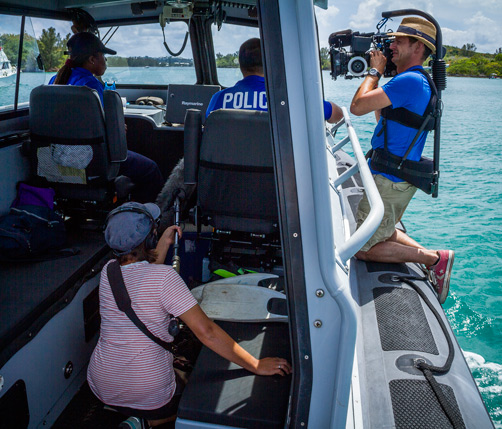 On the water: A German TV crew had the opportunity to go out with the Marine Police while filming for the show mare TV.  *Photo supplied