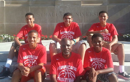 Fab five: Team Hurricane outside Syracuse University during their recent basketball camp in New York. *Photo supplied