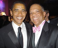 Getting to Know You: Premier Dr. Ewart Brown with Senator Barack Obama at the Congressional Black Caucus Legislative Conference in the fall of 2007 in Washington, D.C.