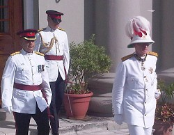 Governor Sir Richard Gozney arrives to deliver the Throne Speech. *Photo by Mikaela Pearman