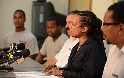 Take action: Attorney General Kim Wilson urged families not to let their children become 'Westgate statistics' at a press conference where inmates talked of their experiences in prison. *Photo by Kageaki Smith